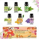 Set de aceites esenciales,100% Natural Puro Aromaterapia Aceite Aromático,6 x 10 ml (Lavanda, Hierba de Limón, Menta, Eucalipto,...