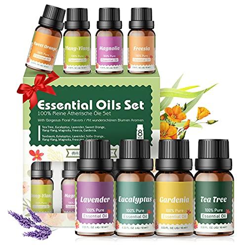 Aceites Essenciales Florales 100% Naturales,Top 8 Set de Aceites Esenciales...