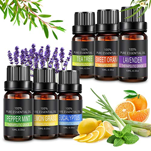 Aceites Esenciales, 6x10ml Aceites Esenciales Aromaterapia para Humidificador,100%...