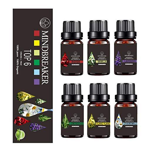 Juego de Aceites Esenciales Florales, Aceites Perfumados de Aromaterapia Orgánica Top 6...