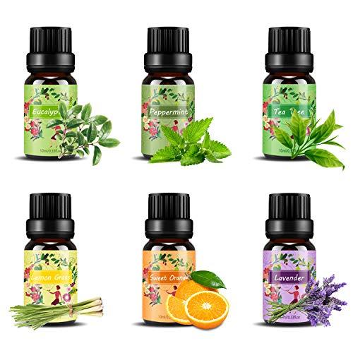 Set de aceites esenciales,100% Natural Puro Aromaterapia Aceite Aromático,6 x 10 ml...