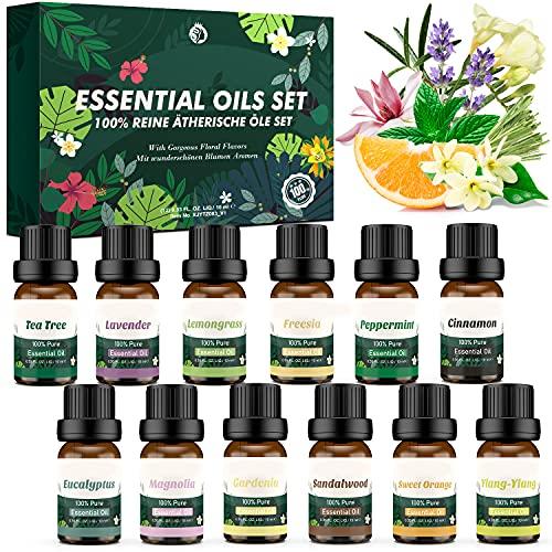 12 Pcs Aceites Essenciale Naturales,Set de Aceites Esenciales Florales Puros,Aceites de...