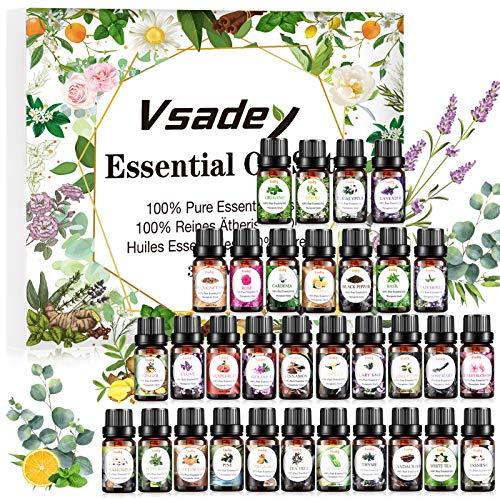 VSADEY Aceites Esenciales de Aromaterapia, Top 32 Juego de Aceites Esenciales 100% Puros y...
